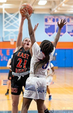 East Rockaway's sophomore Katy Howard, left, released a shot with Malverne's Pricia Ulysse defending during the Lady Rocks' loss on Feb. 4.
