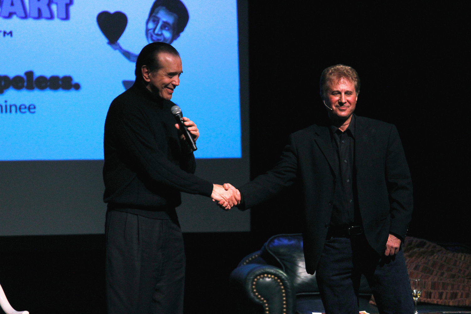 "Baldwin native Peter Fogel, right, and Chazz Palminteri, the creator of ""A Bronx Tale,"" collaborated on a comedy show."