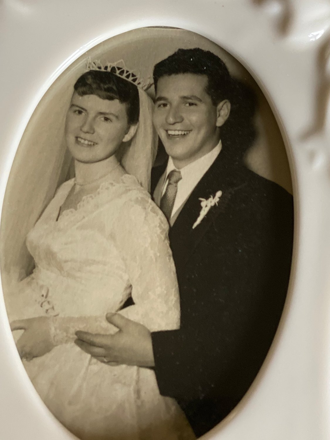 Nora and Frank Bertini on their wedding day, Oct. 6, 1956.