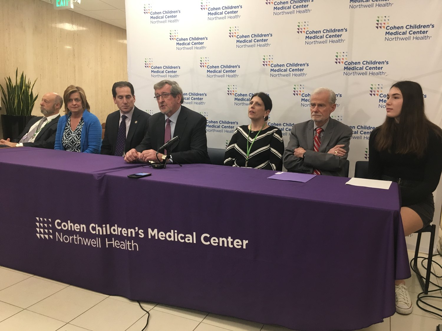 Michael Dowling, president and chief executive of Northwell Health, center, spoke at the opening of the Behavioral Health Center