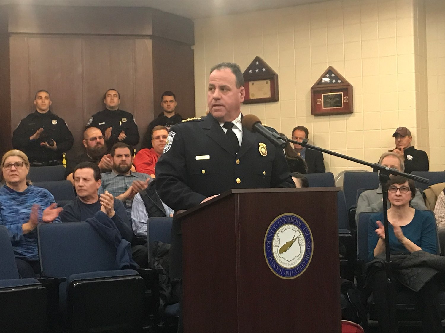 Lynbrook Police Chief Brian Paladino spoke at the Feb. 3 village board meeting and warned residents about recent thefts of checks from mailboxes.