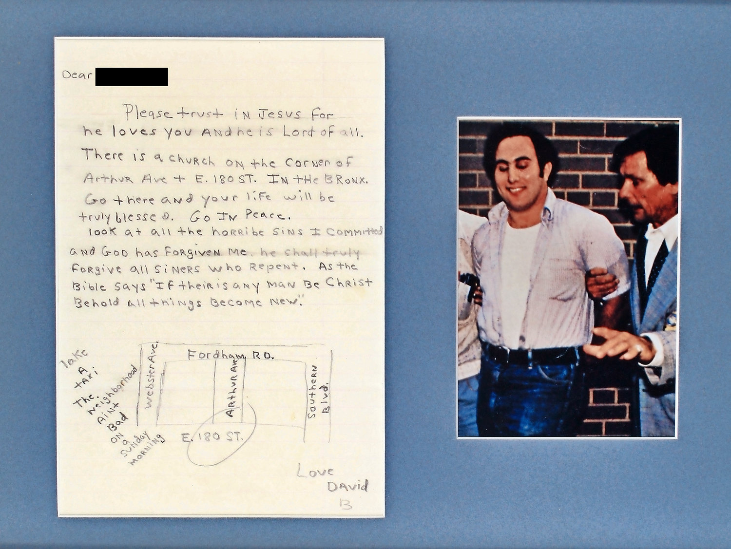 David Berkowitz, who was known as the Son of Sam, wrote a letter on God's forgiveness, above left, that included a map of a church in the Bronx.