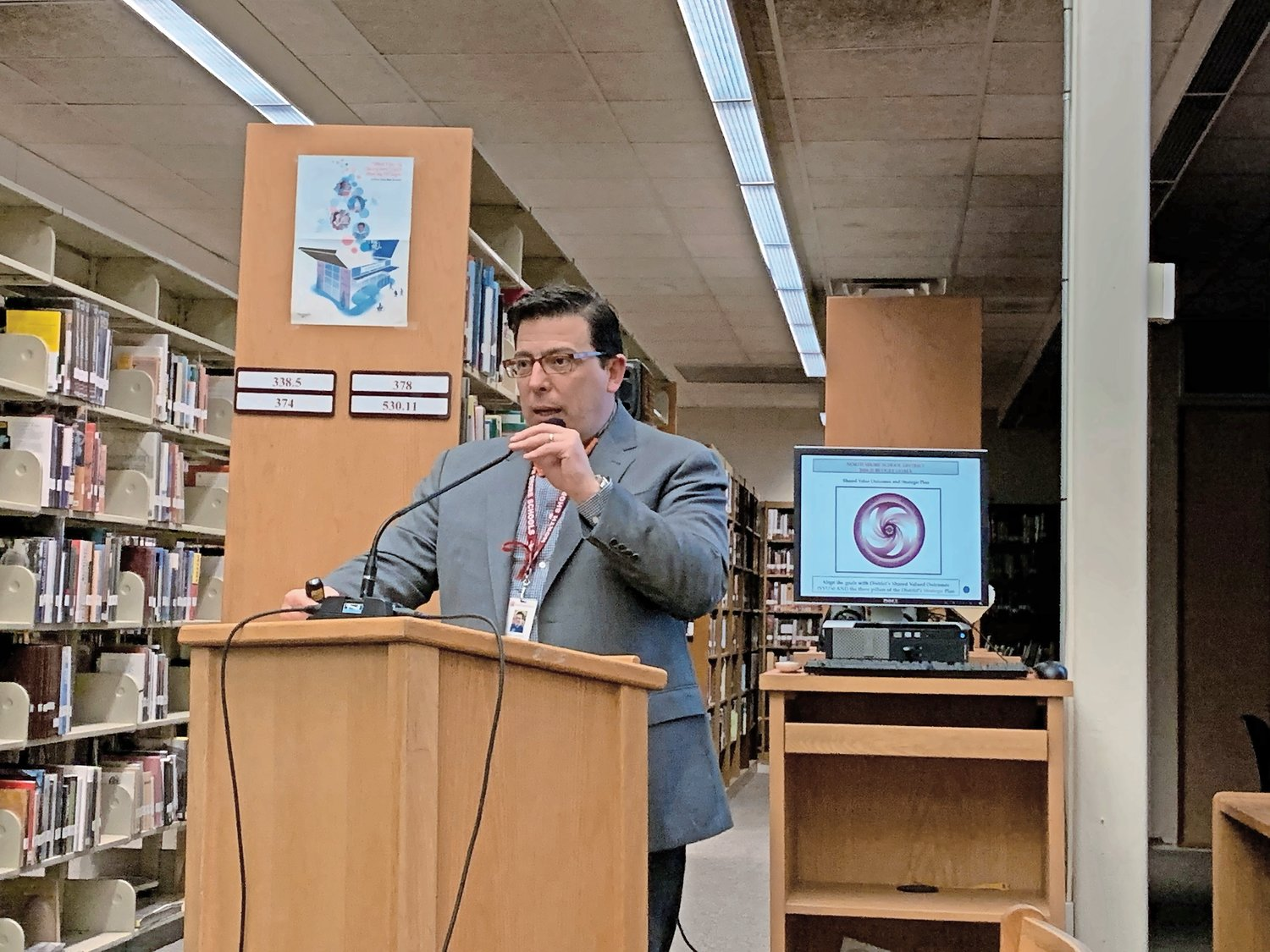 Superintendent Dr. Peter Giarrizzo received a positive response from the North Shore School District Board of Education as he made his budget presentation.