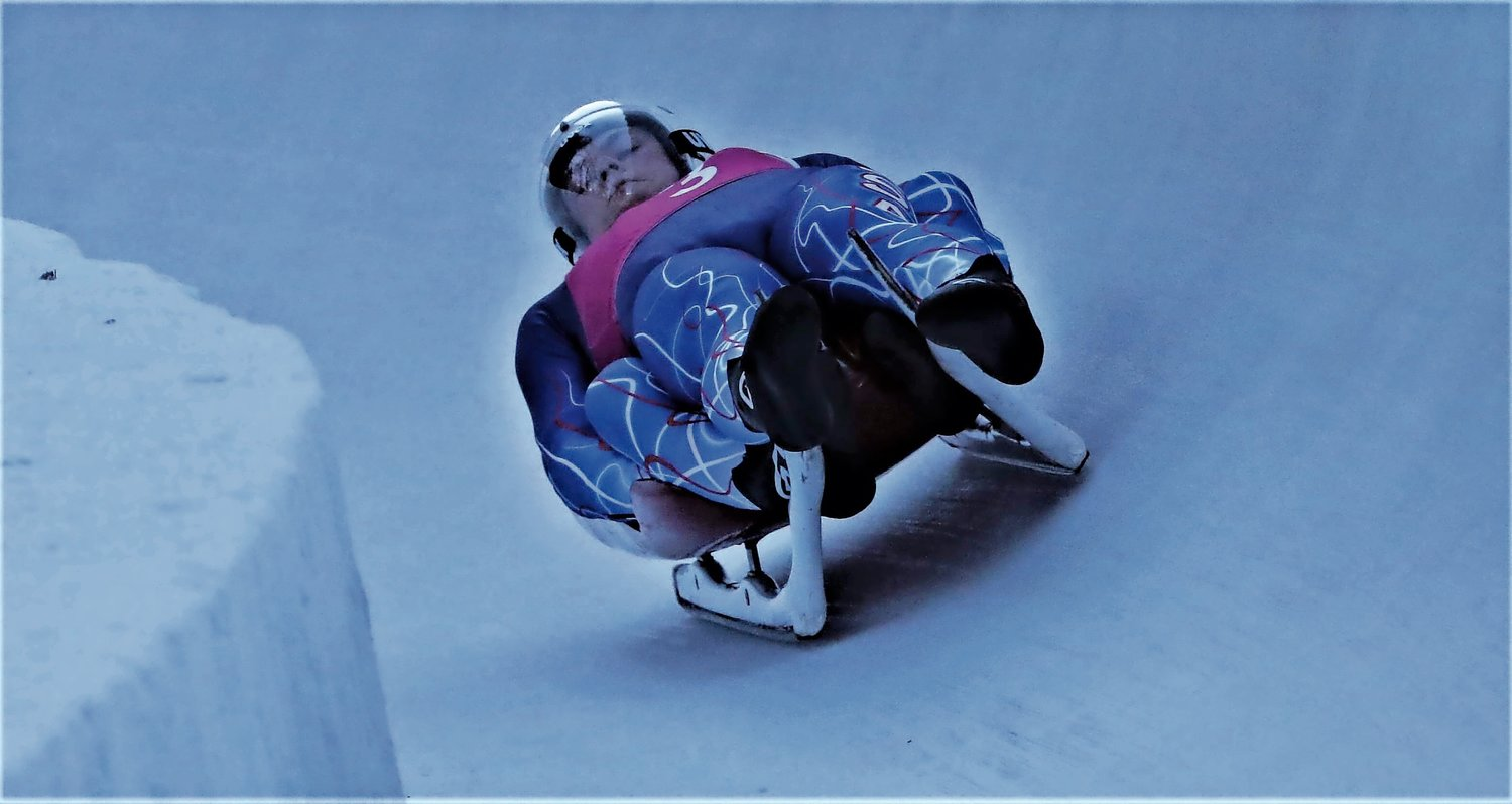 The luge duo of Sam Day and Sam Eckert hurtling down the mountain at the Youth Olympic Games in Lausanne, Switzerland, in January.