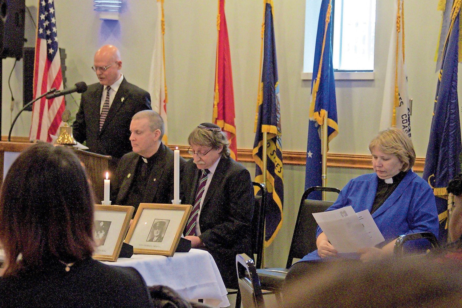 The Rev. Mark Applewhite, far left, the Rev. Timothy Valentine, Rabbi Irwin Huberman and the Rev. Dr. Kimberly Wilson represented the chaplains during the ceremony.