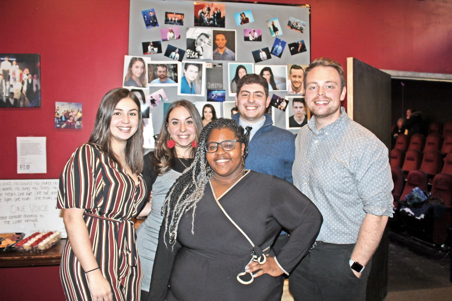 Kathryn Paidoussis, left, Sydnee LaBuda, Janelle Primm, Jared Grossman and Sean Ryan were excited to kick off the grand opening of Cultural Arts Playhouse Merrick.