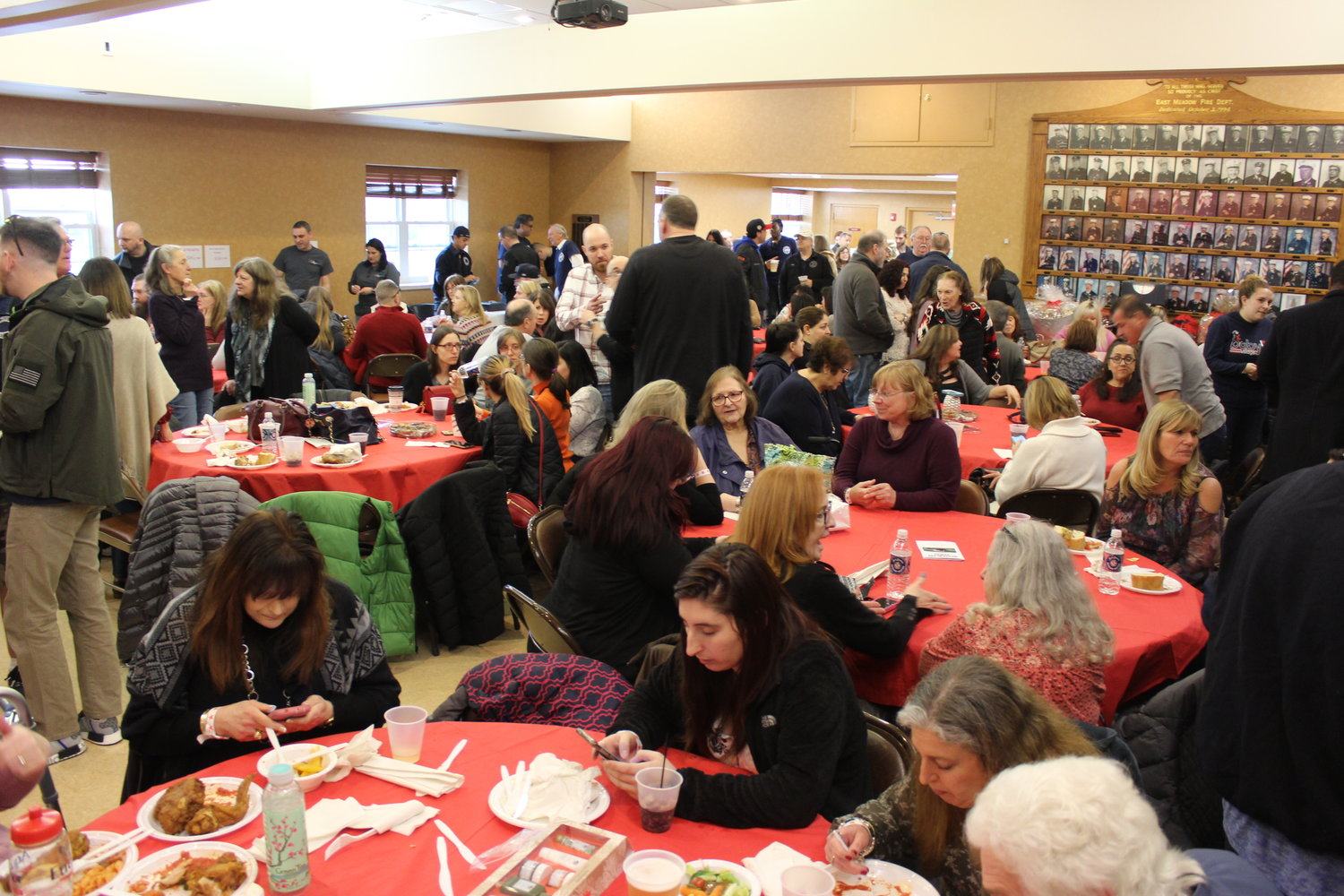 The East Meadow Fire Department Headquarters was packed on Feb. 9 during a fundraiser in support of the family of ex-captain Michael Smith.