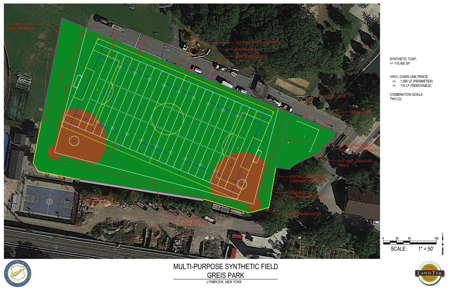 A rendering of the $1.3 million turf fields that the Amityville-based LandTek Group will install at Greis Park. Construction is expected to begin in late March and be completed by the end of summer.