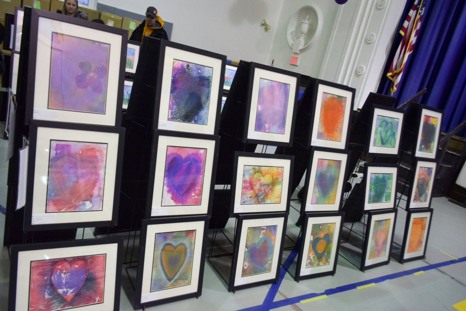 Jaime Harrington's third-grade class followed their hearts when creating these pieces of art.