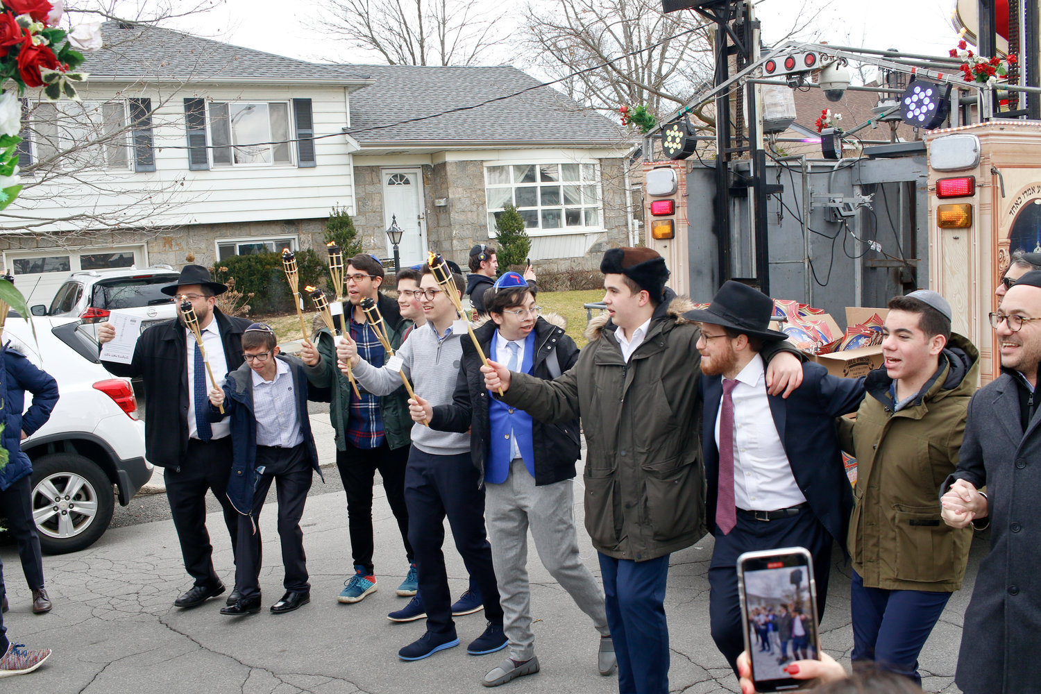 The Torah dedication celebration continued as a procession proceeded on Church Avenue to Congregation Bais Tefilah on Edward Avenue 