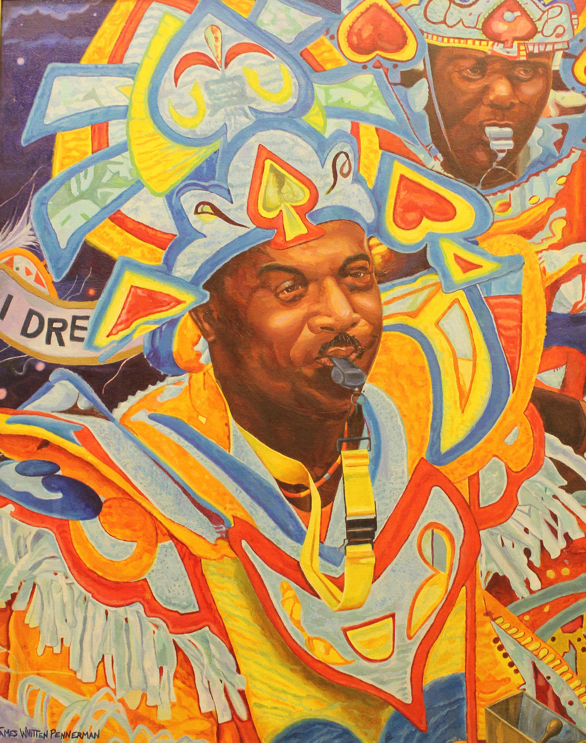 "Whitten's oil painting ""Jammin' Junkanoo,"" above left, depicts his cousin Rosco Turnquest at a Bahamian cultural festival and parade called Junkanoo."