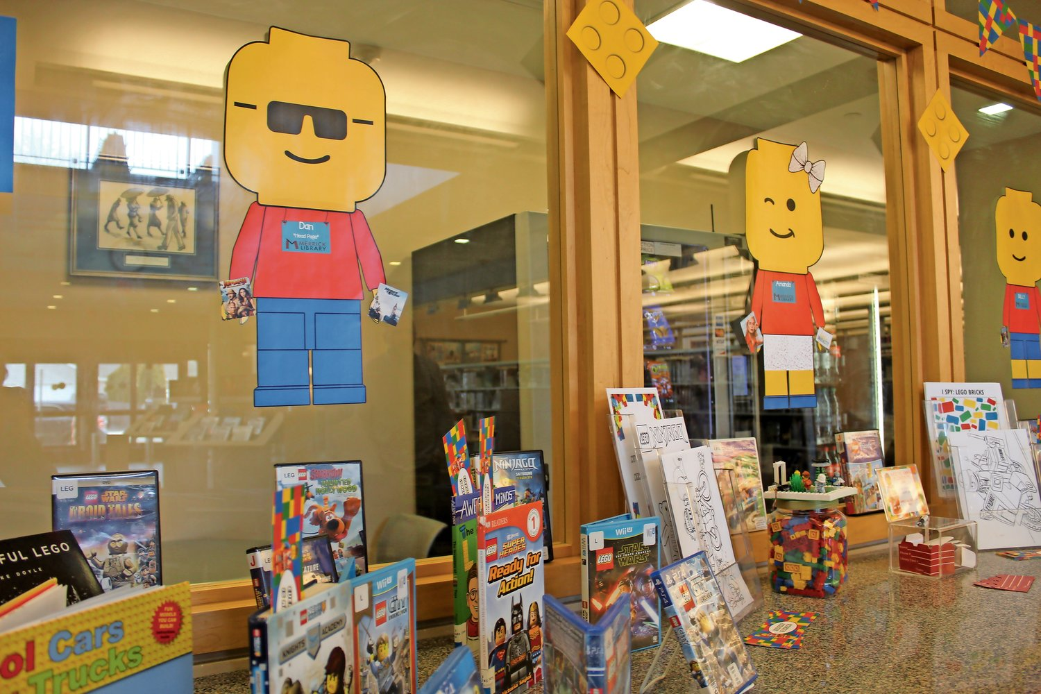 Michelle Craddock, a staffer who works in the library's User-experience Department, created this LEGO-themed display in the main lobby.
