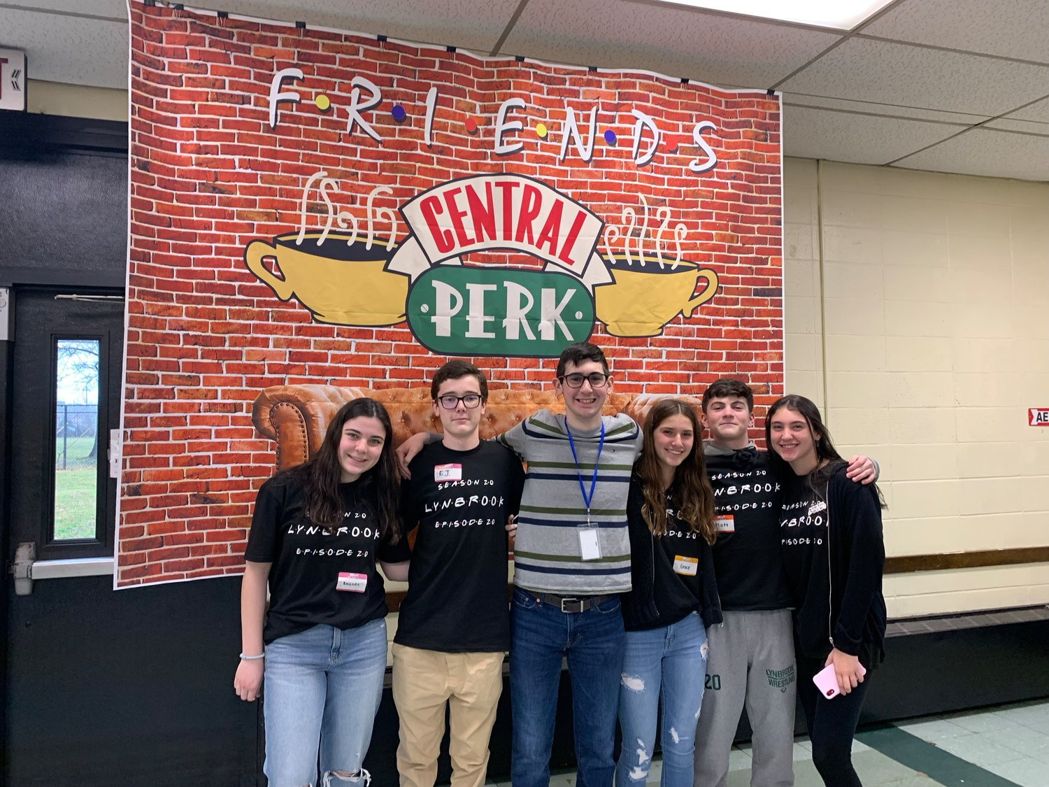 "In addition to the theme of spreading kindness, the afternoon was also inspired by the sitcom ""Friends."" Students participating included, from left, Amanda Larow, E.J. Ridings, Patrick Labarbera, Grace Bodian, Matt Sollitto and Jordan Glickman."