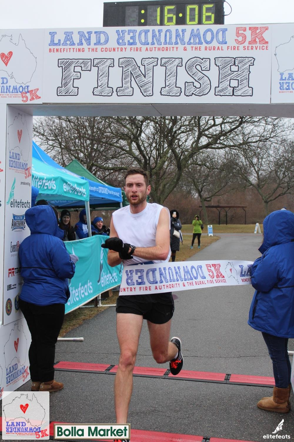 Lynbrook resident Jonathan Schloth, 23, finished first among men in Nassau County's Land Down Under 5K on Jan. 25, which went to support the Australian relief effort after recent bush fires.