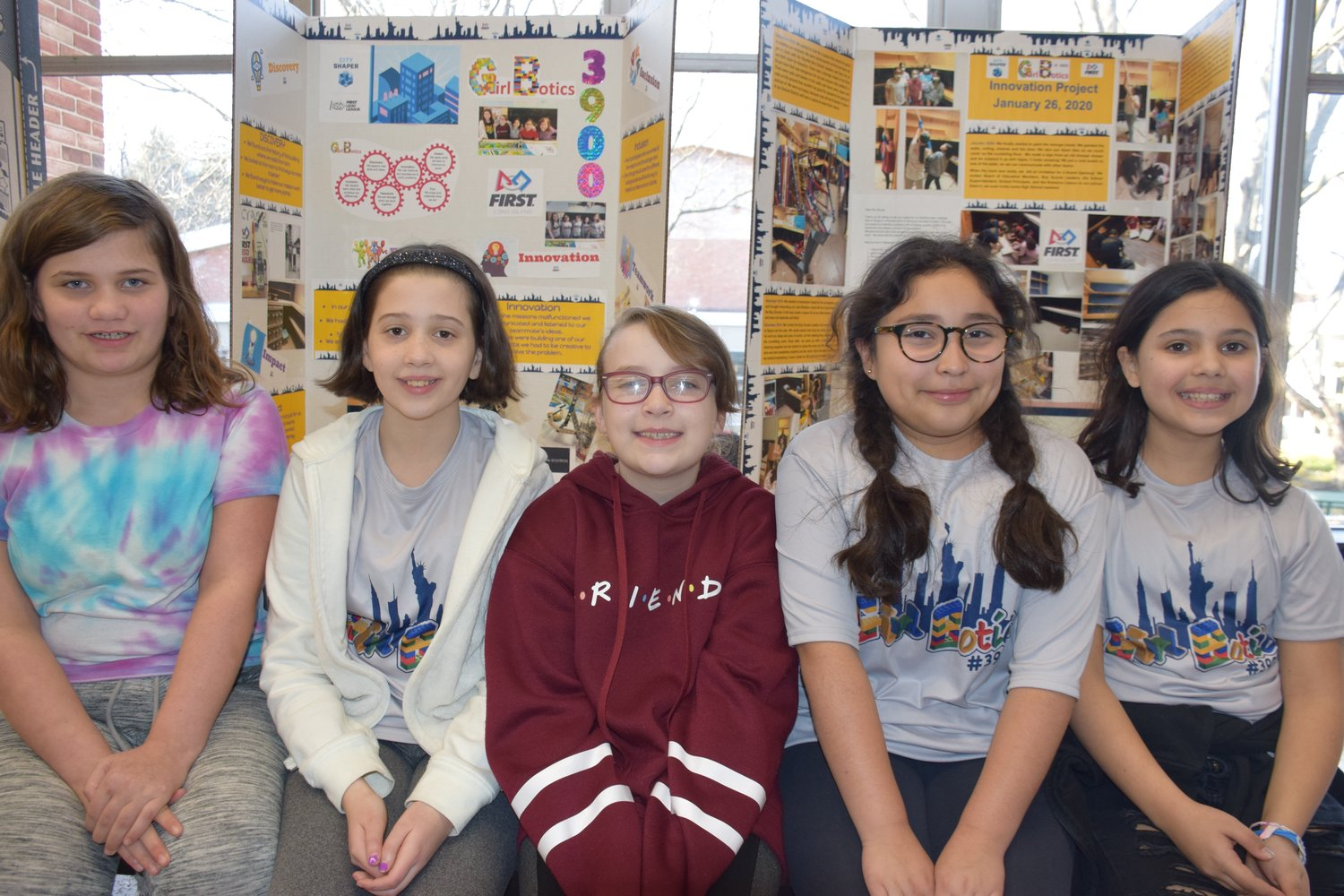 Girlbotics members, from left, Madeline Hataier, Mia Dessner, Julia Ergen, Gianna Moreano and Maya Valderrama took third place in the First Lego League regional competition on Jan. 26.
