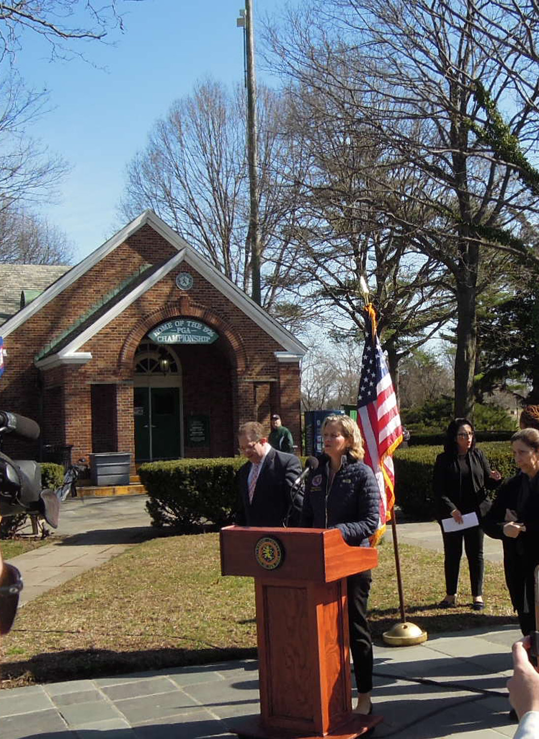 Nassau County Executive Laura Curran, right, and Commissioner of Health Dr. Lawrence Eisenstein addressed mental health concerns Wednesday morning at a news conference in Eisenhower Park.