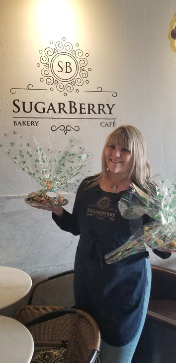 Staff members of Sugarberry Bakery started donating and delivering food to local hospitals on St. Patrick's Day.