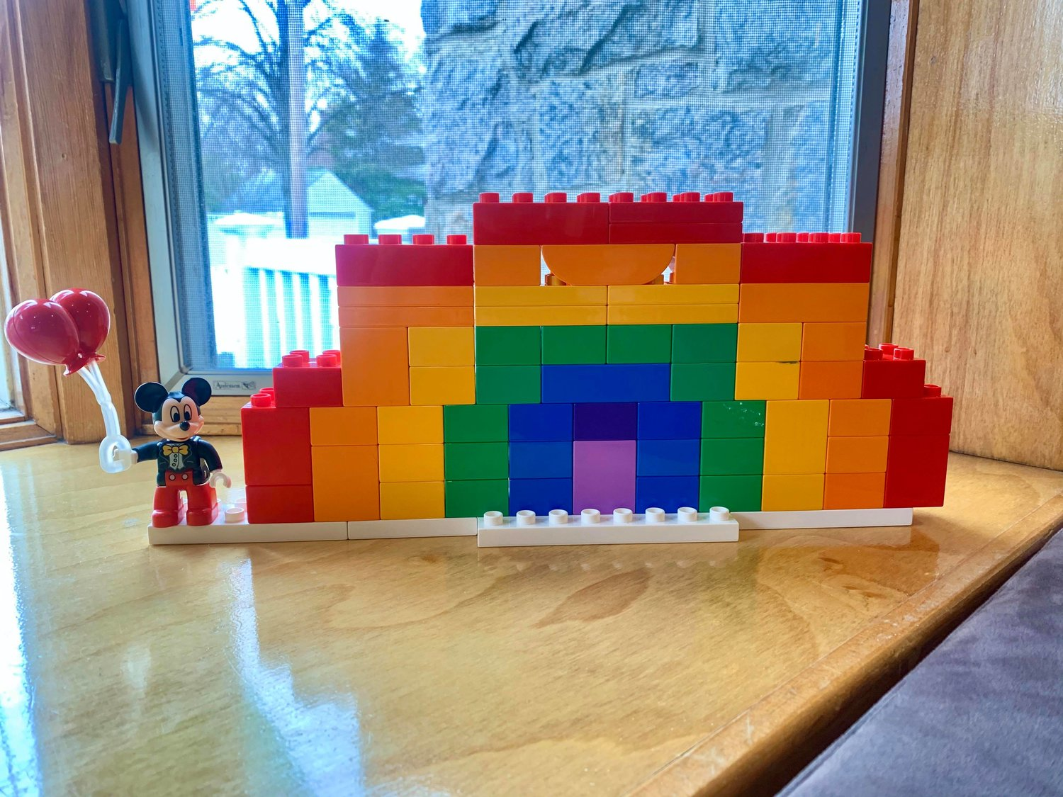 Danielle McKenna Healy's sons made a rainbow out of LEGOs.