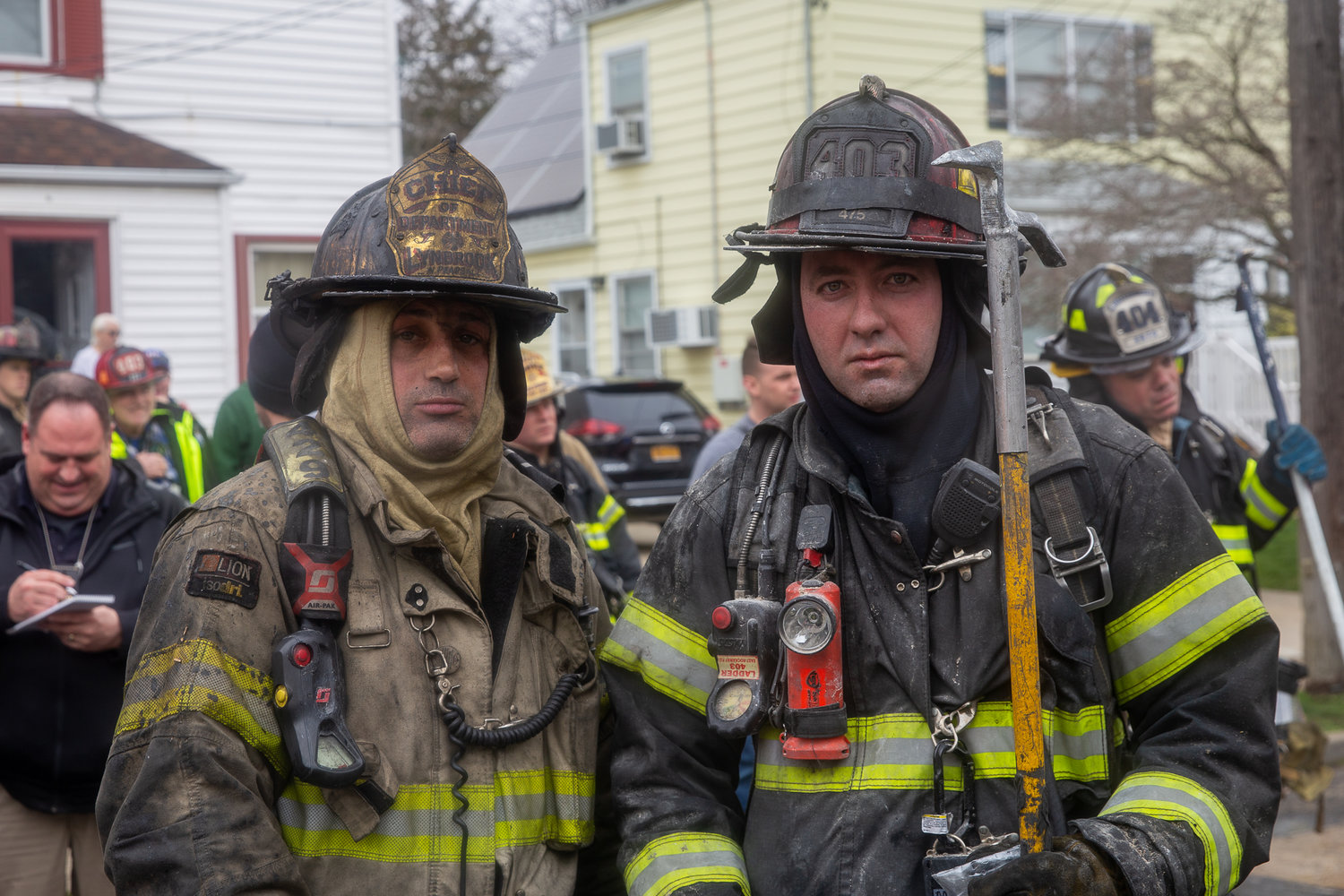 Lynbrook Chief Nick Pearsall, left, and East Rockaway firefighter James Monaco responded to the rescue.