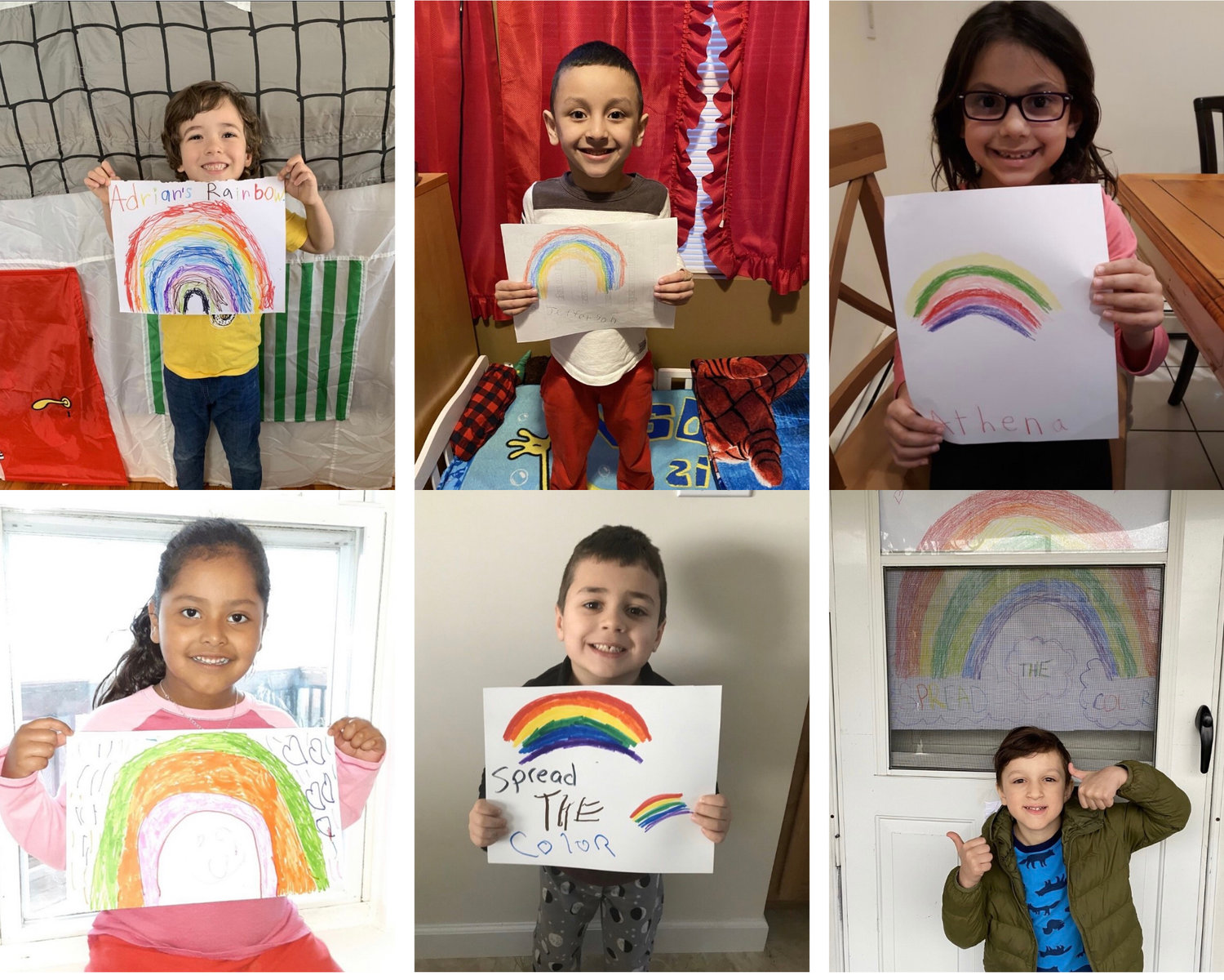 Top row from left, Adrian Gadea Shapovalov, Jefferson Mojica Rivas, Athena Thomaidis, Liz Ruano, and bottom row from left, Daniel Boatman, and David Youssef in Alyson Dellavecchia's kindergarten and first grade class at Deasy Elementary School created rainbow artwork to spread hope as they learn from home due to school closures from the coronavirus.