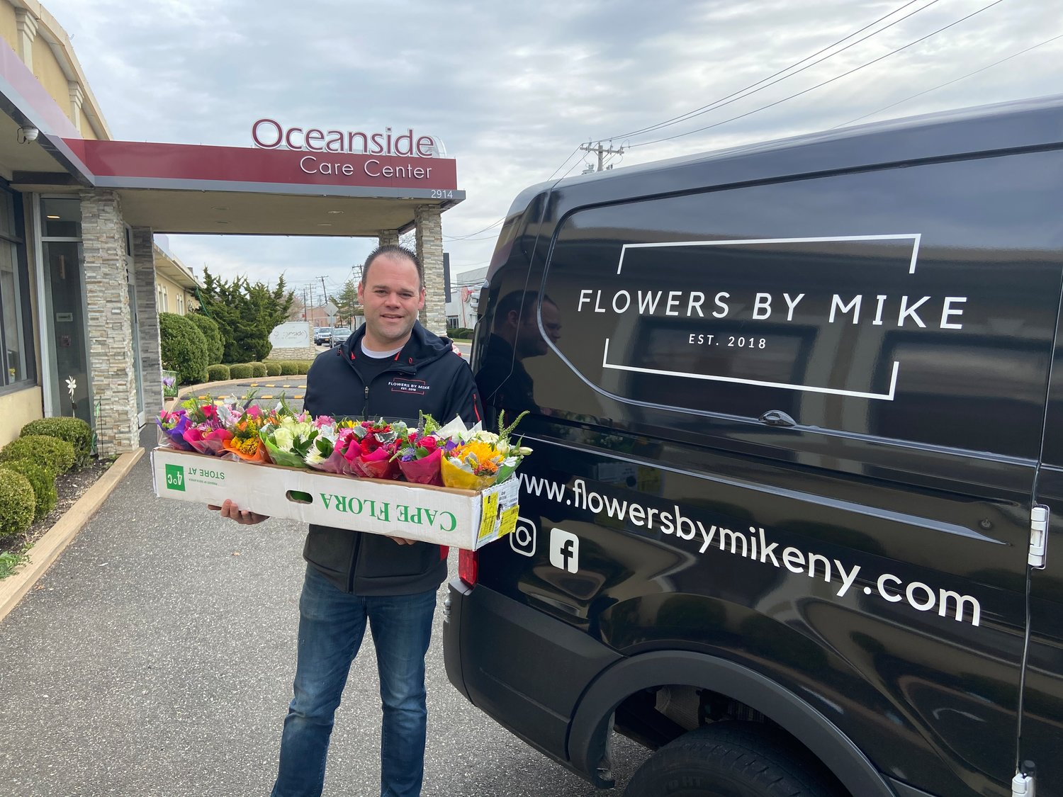 Flowers by Mike owner Mike Graham donated arrangements throughout the neighborhood, including at the Oceanside Care Center, after having to shutdown his businesses as of March 22 because of the coronavirus