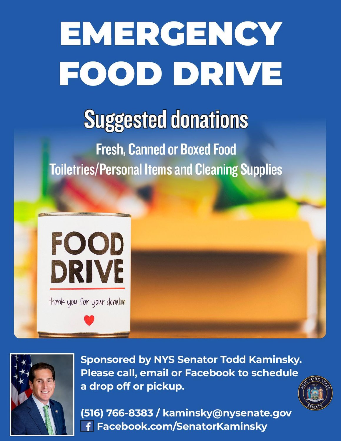 An emergency food drive to benefit people because of the Covid-19 health crisis is being held by State Sen. Todd Kaminsky.