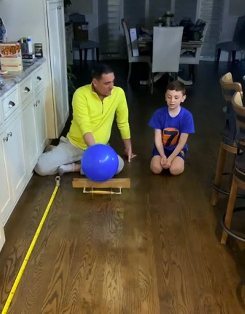 Using materials he had at home, Wantagh Elementary School third-grade student Giovanni Stornello created a balloon racer with the help of his father.