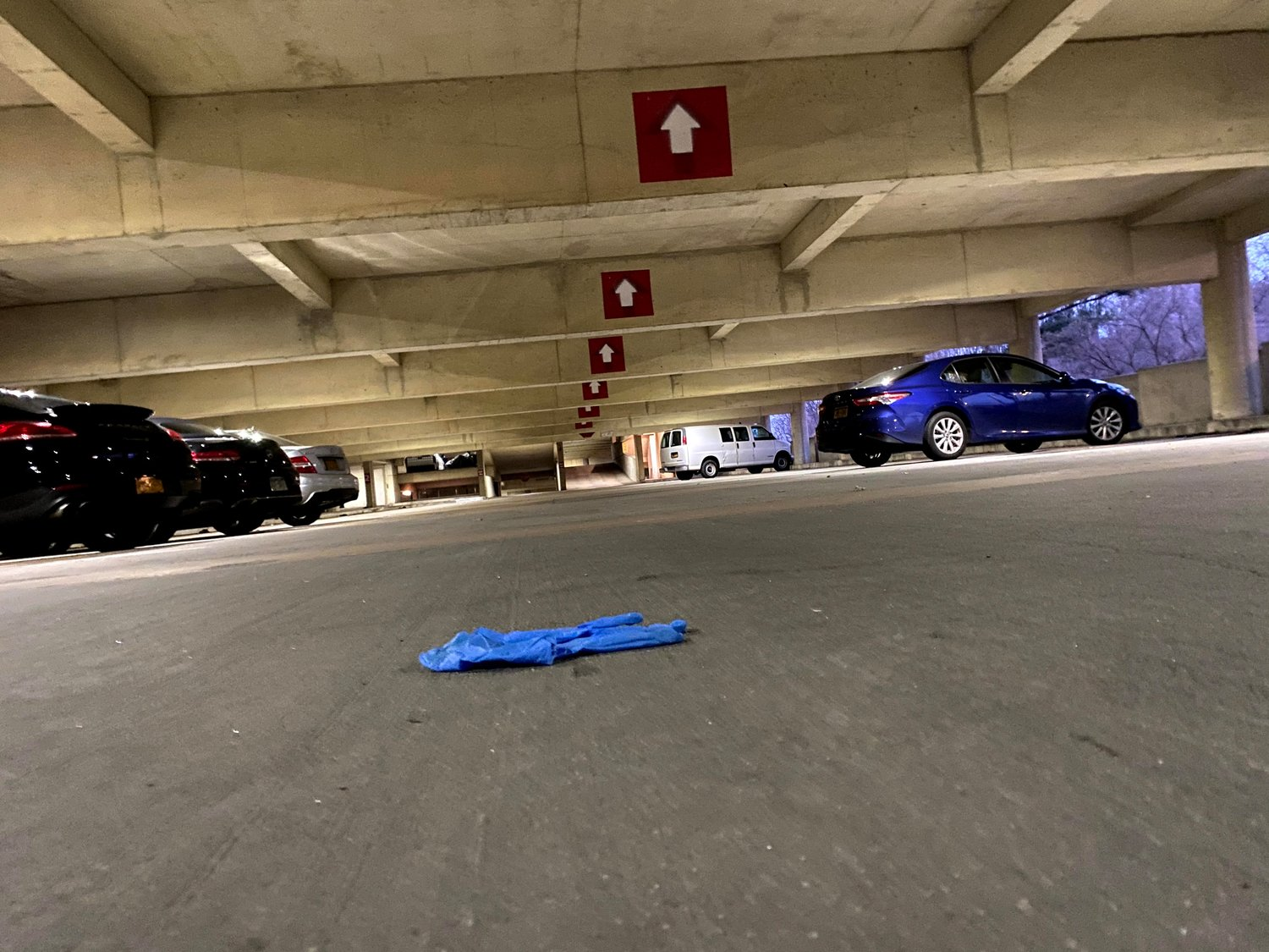 A glove left in the parking garage of downtown Glen Cove.