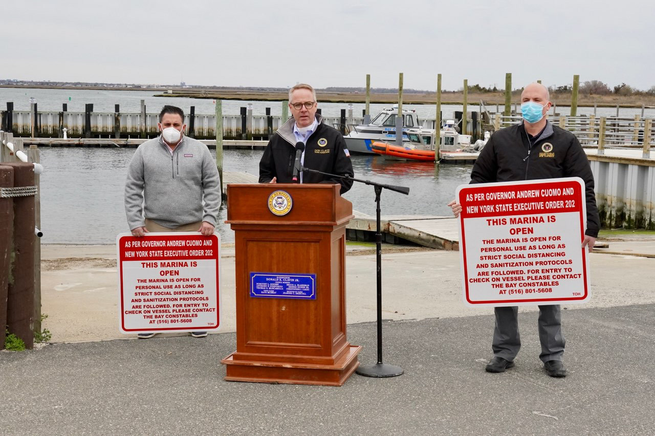 Hempstead Town marinas have reopened. Making the announcement were Supervisor Don Clavin, center, Councilman Anthony D'Esposito, left, and Councilman Chris Carini.
