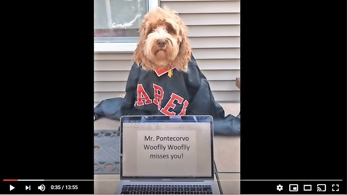 H. Frank Carey Mathematics Chairperson Robert Pontecorvo's dog wished his students well.