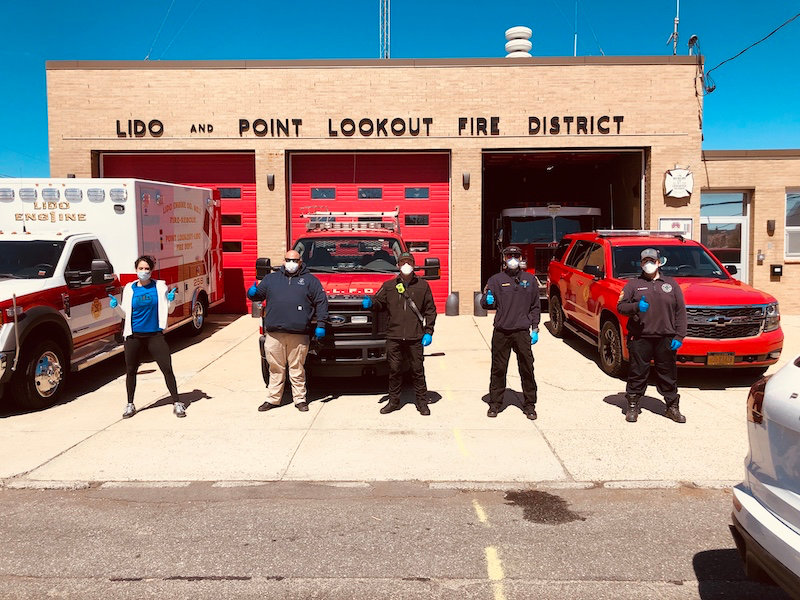 Rachel Engel and Colette Morales donated items to the Point Lookout-Lido Fire Department.