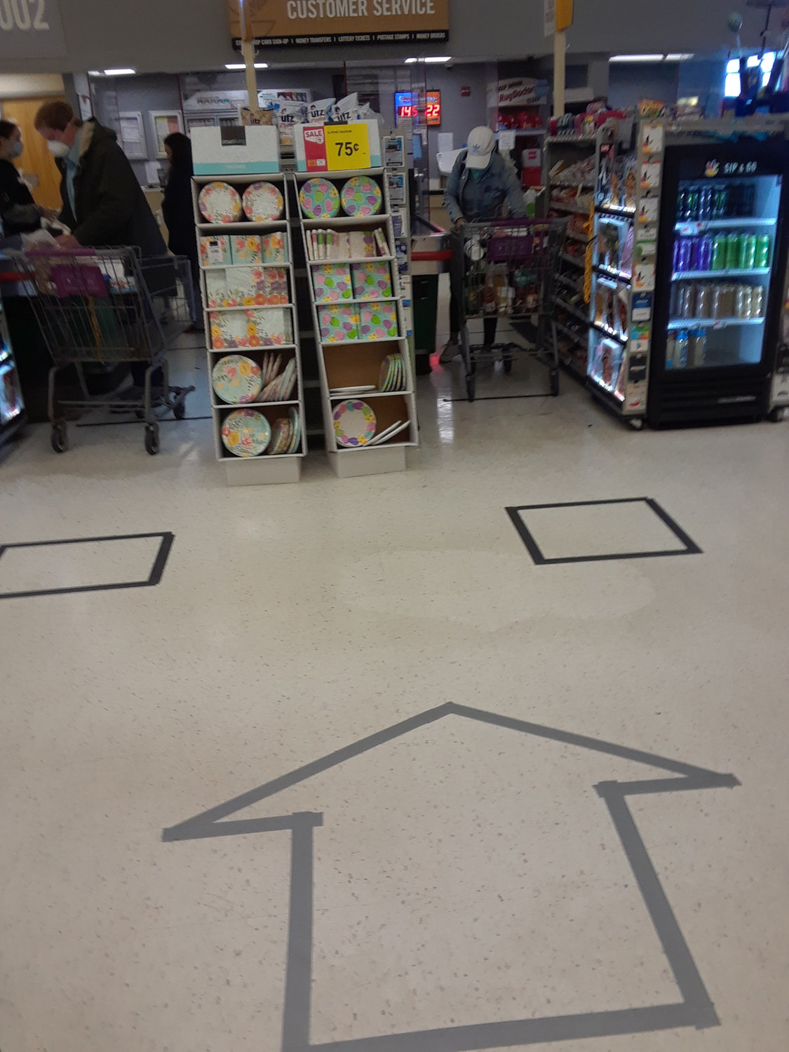 Some stores have begun using one-way aisles to help maintain social distancing.