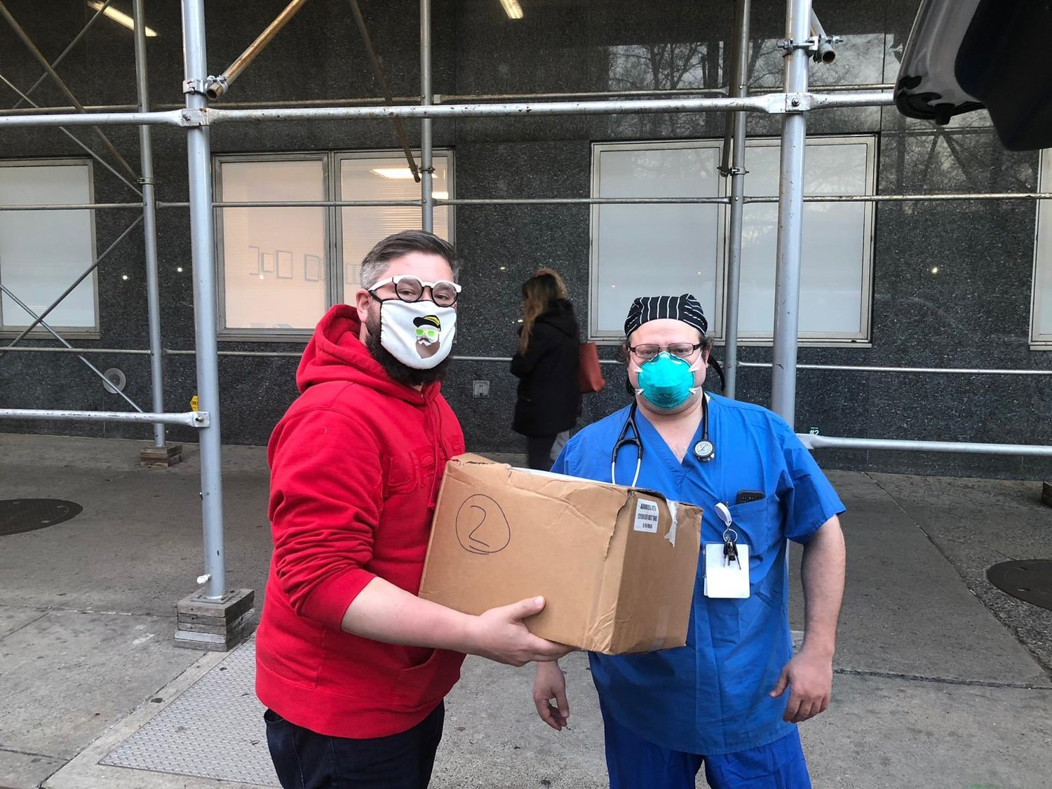 Hewlett resident Gabriel Boxer has been donating food to hospitals across Long Island and New York City with his Kosher Response Project. Boxer, left, donated to Moshe Reich, right, an RN at Mount Sinai Hospital in Manhattan.