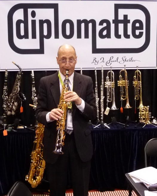 Longtime Hewlett resident and professor emeritus Dr. Paul Shelden played a soprano saxophone he designed that was made by his company, Diplomatte Musical Instruments.