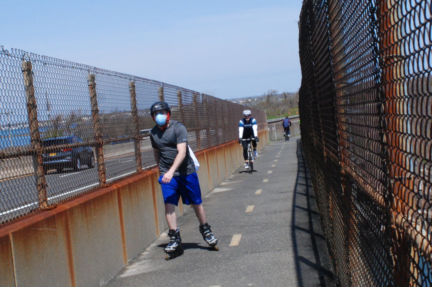 A number of cyclists and inline skaters wore masks as they made their way to and from Jones Beach.