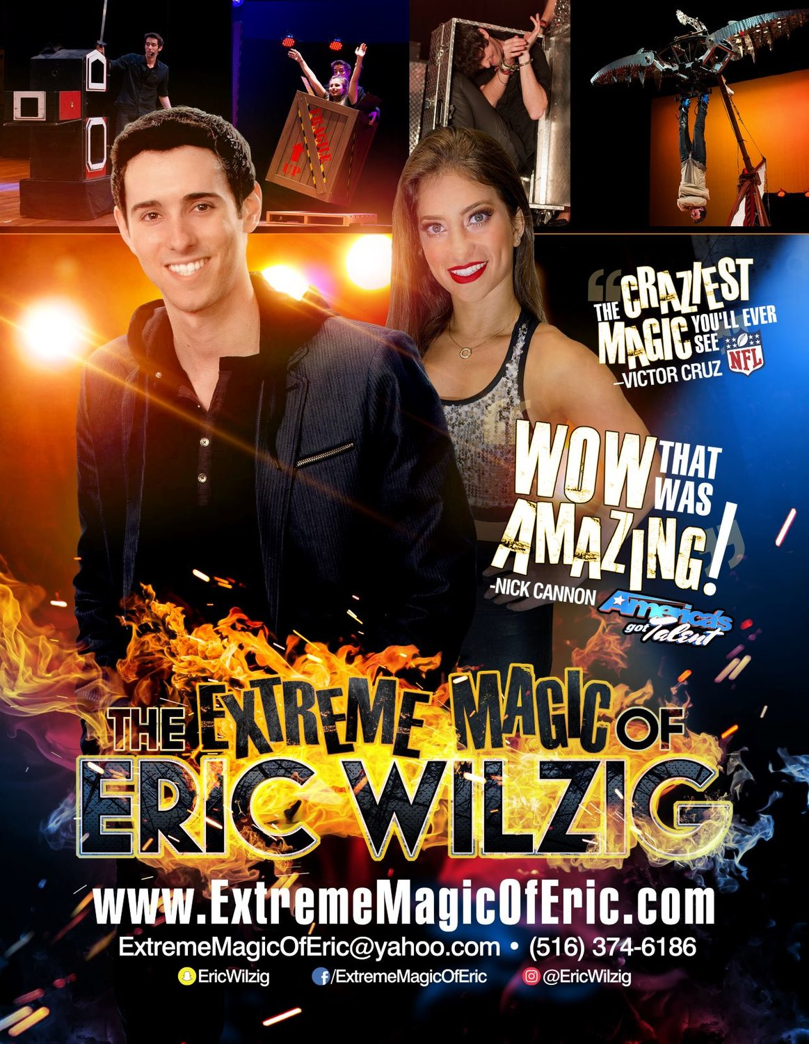 Magician and illusionist Eric Wilzig and his wife, Eliana, perform shows at home during the coronavirus pandemic.