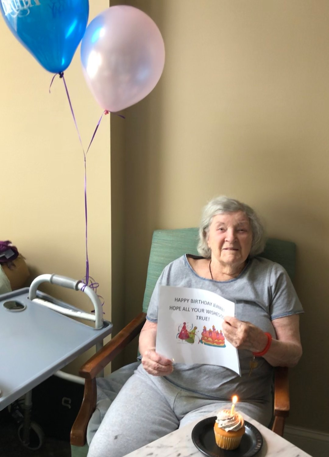 Jeanne Geib, 97, was able to celebrate with cupcakes delivered by her family.
