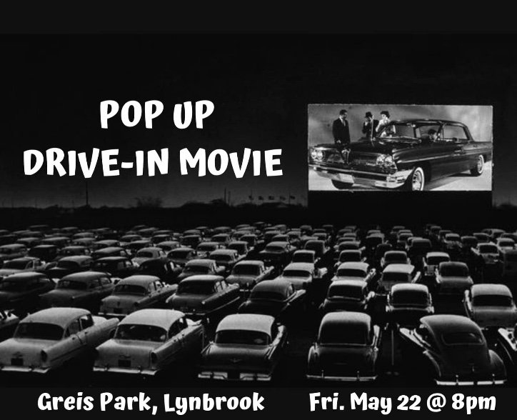 Lynbrook officials are partnering with the Chamber of Commerce to host a drive-in movie event on May 22.