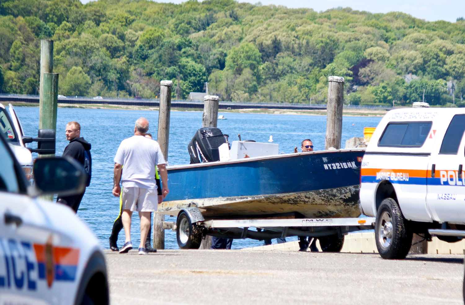 The Nassau County Marine Bureau brought Mike Kennedy's boat back to the marina.