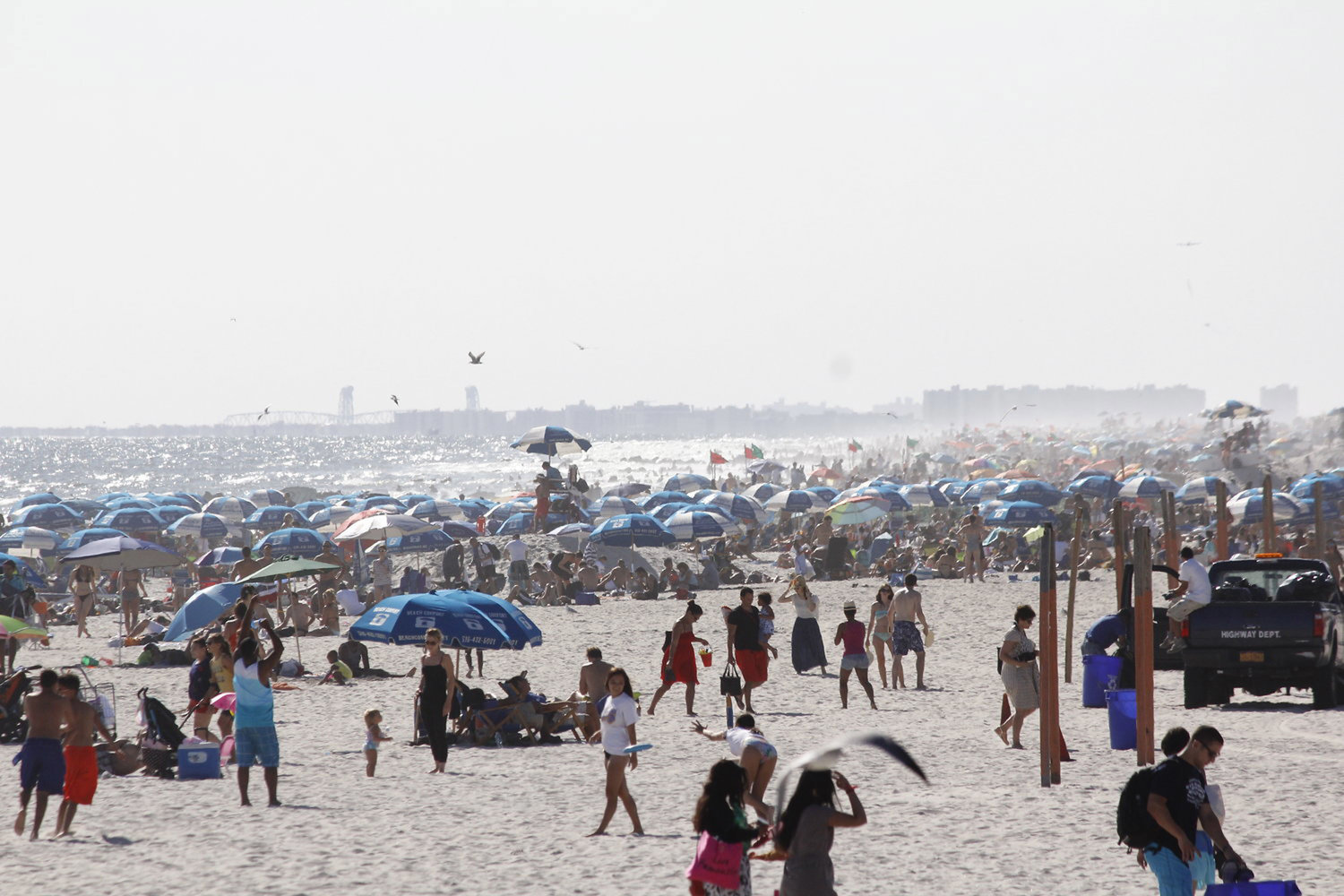 Beaches are set to open across New York State on May 22, in time for the Memorial Day weekend. Local cities and town, however, have the authority to keep them closed. Above, a view of Long Beach before the Covid-19 pandemic.