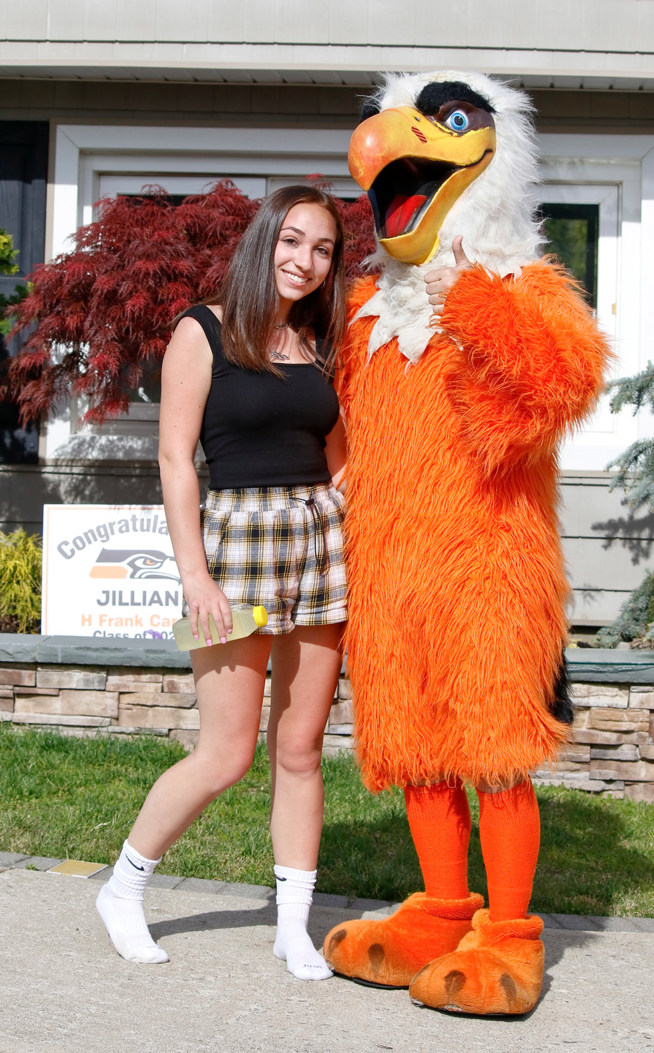 Senior Jillian Destler posed with the Seahawk.
