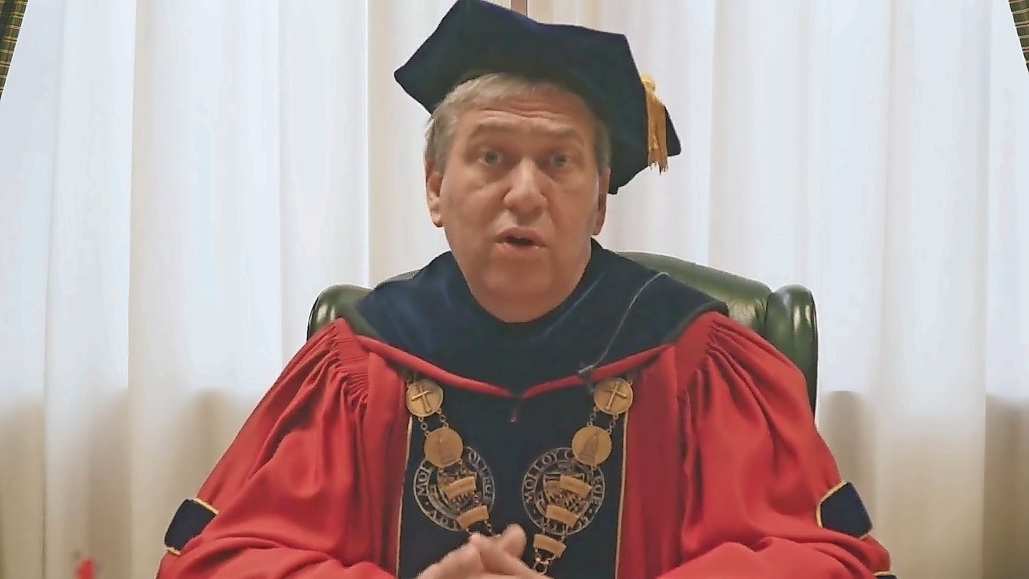 Dr. Drew Bogner, outgoing Molloy College president, gave his final commencement address in a pre-recorded video that was livestreamed during the virtual ceremony on Monday.