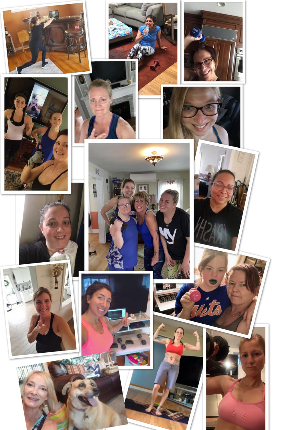 Participants in Theresa Foders's Terrible Theresa Training, on Facebook, shared photos of their workouts at home.