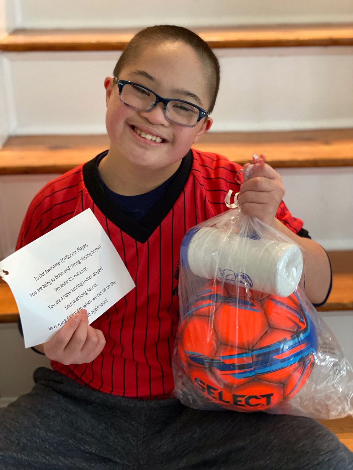 Chiefs Soccer Club player Rafael Borja was happy to receive his gifts.
