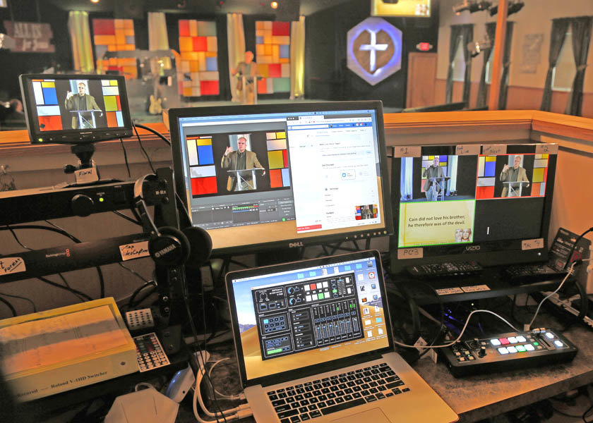 A look at the virtual set-up for East Rockaway's Church of the Nazarene