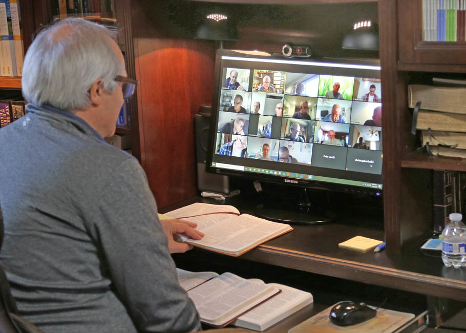Pastor Steve Hurkens of East Rockaway's Church of the Nazarene used zoom to run a men's Bible Study.