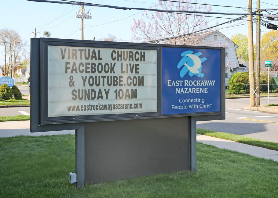 Every Sunday East Rockaway's Church of the Nazarene holds virtual services at 10 a.m.