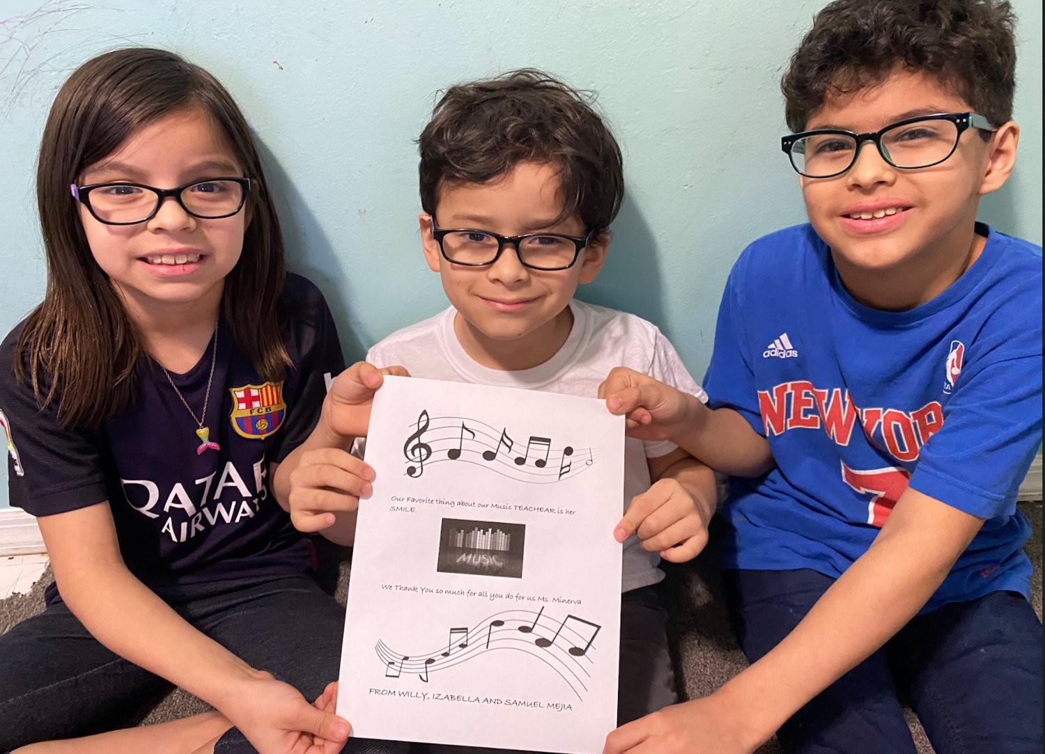 Chestnut Street School students and siblings Isabelle, Sam and Willy Mejia shared their favorite thing about their music teacher Diana Minerva during the school's Teacher Appreciation Week.
