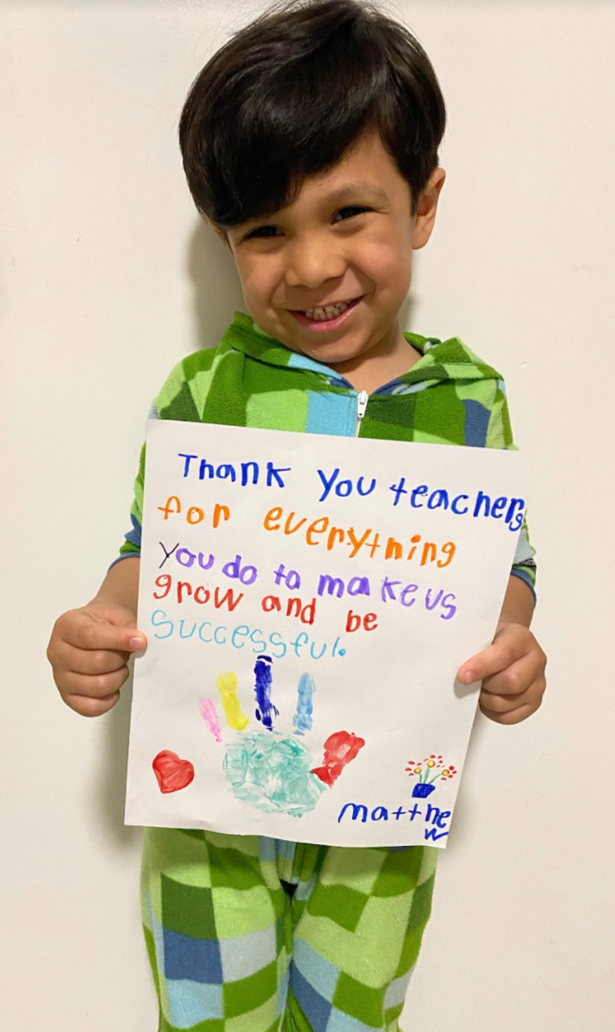 Chestnut Street student Matthew Ortiz drew a special thank-you note for his teachers.