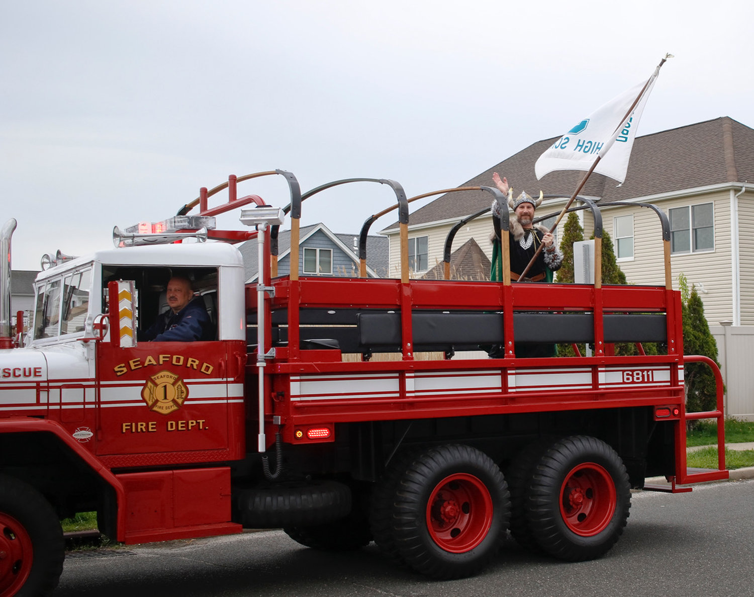 The Seaford Fire Department took part as well, with sirens, lights . . . and Vikings.